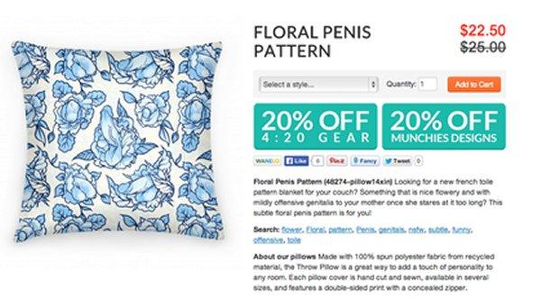 Floral penis pattern pillow
