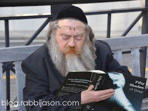 Rabbi reading 50 shades of Grey